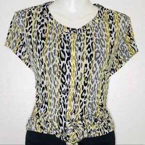 Dana Buchman Leopard animal print button Front Top